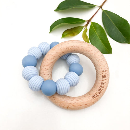 BEEHIVE Silicone and Beech Wood Teether - Blue - Green Lily