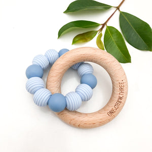 BEEHIVE Silicone and Beech Wood Teether - Blue
