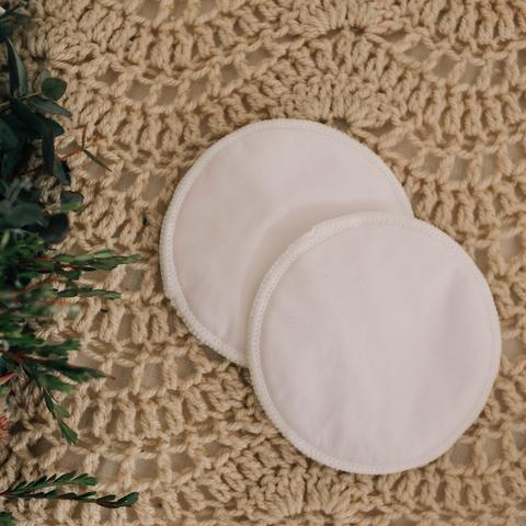 Re-usable Breast Pads Nightime - CLASSIC WHITE - My little Gumnut - Green Lily