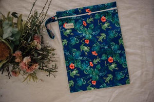 My Little Gumnut - TROPICAL FROGS - Large Wet bag - Green Lily