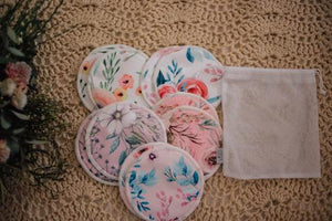 REUSABLE BREAST PADS 5 PAIRS (ASSORTED PATTERNS) - My Little Gumnut - Green Lily