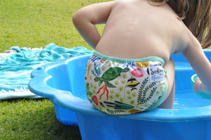Seedling Baby - Surf Reef - Paddle Pants Swim Nappy (birth to 16kgs) - Green Lily