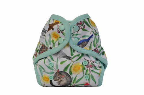 NEWBORN - Seedling Baby - Mini-Fit Pocket Nappy - Icon Green - Green Lily