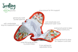 NEWBORN - Seedling Baby - Mini-Fit Pocket Nappy - Midnight Forest - Green Lily