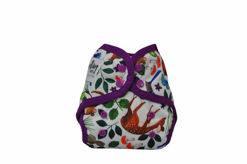 NEWBORN - Seedling Baby - Mini-Fit Pocket Nappy - Mulberry Forest - Green Lily