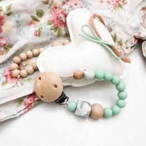 Mint - Marble Accent Silicone Dummy Holder (preorder due feb) - Green Lily