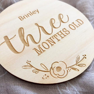 Monthly age milestone cards - wooden plaques - Green Lily