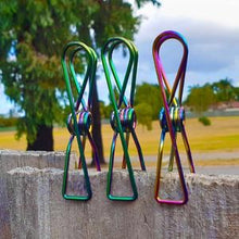 Load image into Gallery viewer, Twin Pack Rainbow Stainless Steel Infinity Clothes Pegs 40 Regular & 10 Large - Green Lily