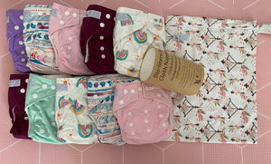 My Little Gumnut Starter Pack - 10 nappies + wet bag + bio liners - Green Lily
