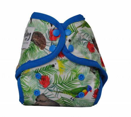 NEWBORN - Seedling Baby - Mini-Fit Pocket Nappy -  Icon Blue - Green Lily
