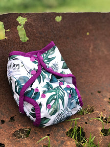 Seedling Baby - Multi-Fit Pocket Nappy - Tropical Amethyst - Green Lily