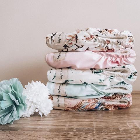 My Little Gumnut Value Pack - 6 nappies + large wetbag - Green Lily