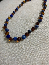 Load image into Gallery viewer, Cognac Amber & lapis lazuli Infant Necklace