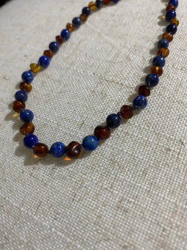 Cognac Amber & lapis lazuli Infant Necklace - Green Lily