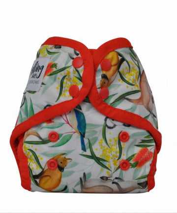 NEWBORN - Seedling Baby - Mini-Fit Pocket Nappy - Icon Red - Green Lily