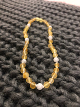 Load image into Gallery viewer, Raw Lemon Amber & Moonstone Infant Necklace - Green Lily