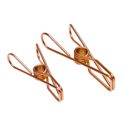 Twin Pack Rose Gold Stainless Steel Infinity Clothes Pegs 40 Regular & 10 Large - Green Lily