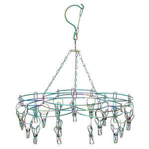 Stainless Steel Sock Hanger with 20 Pegs - RAINBOW - Green Lily