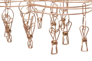 Stainless Steel Sock Hanger with 20 Pegs - ROSE GOLD - Green Lily
