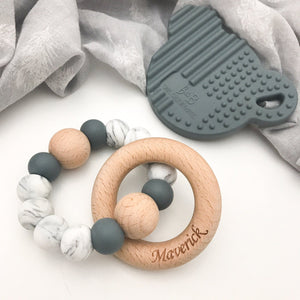 SINGLE RATTLE Silicone and Beech Wood Teether - Grey Marble