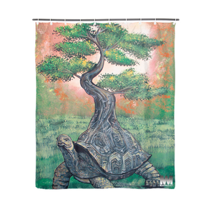 "Bonsai Tortoise Shower Curtain 72""x72"""