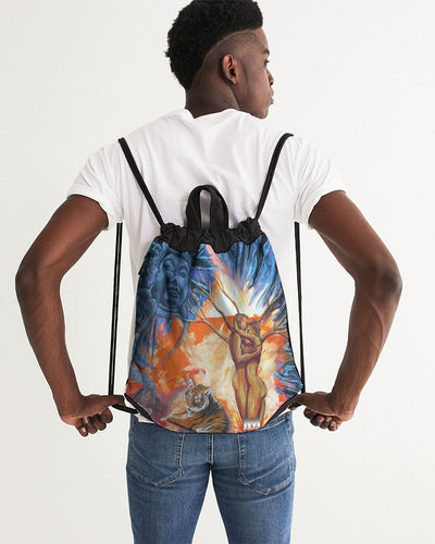 Buddah Tiger Fire Canvas Drawstring Bag