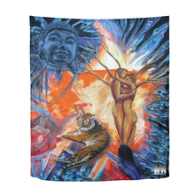 "Load image into Gallery viewer, Buddah Tiger Fire Tapestry 51""x60"""