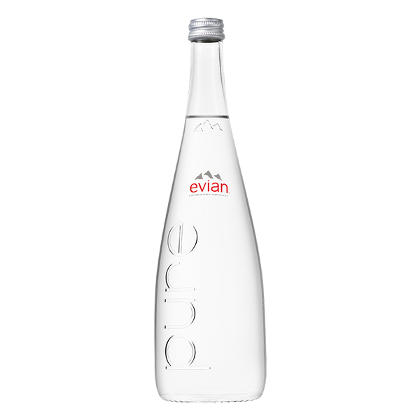 Evian Natural Mineral Water 750ML Glass Bottle x 12