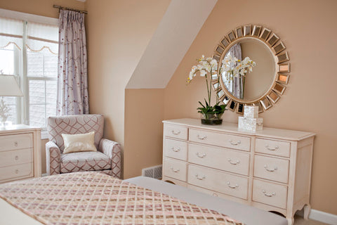 WHITE BEDROOM WITH ORCHID