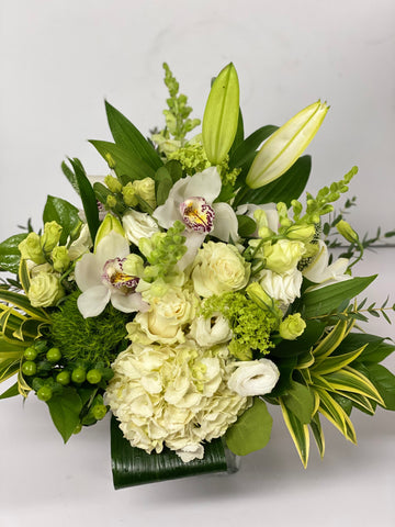 Classic white arrangement including a Roses Cymbidium orchids snowballs and Lisianthus