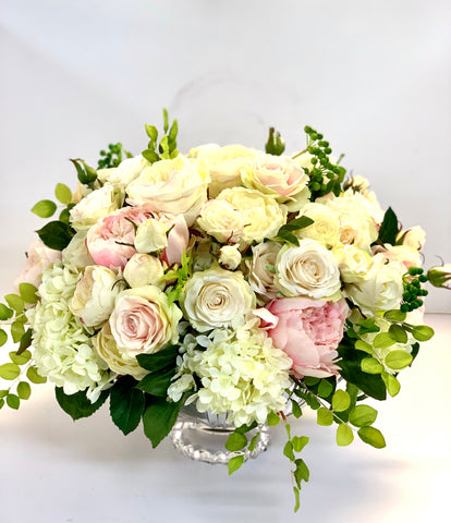 Classic english garden in white and pink silk flowers