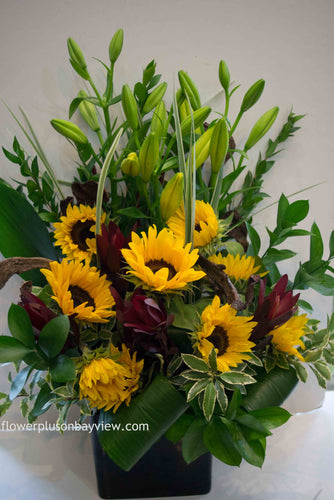 C36 - Vivid Sunflowers accented with Lilies - Flowerplustoronto