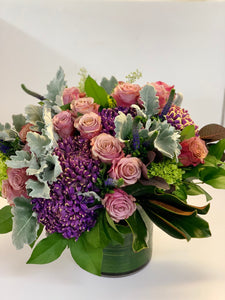 F135 - Lush purple and lavender Vase Arrangement - Flowerplustoronto