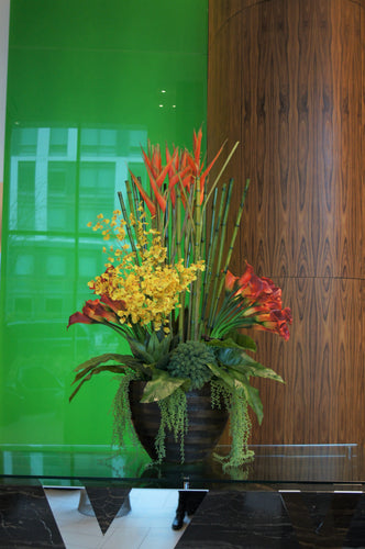 S42 - Modern Exotic Arrangement for Foyer Table - Flowerplustoronto