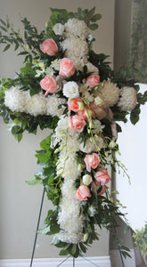 FNS10 - Cross accented with Peach Roses - Flowerplustoronto