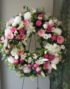 FNS30 - English Garden Shades of Pink and White Wreath - Flowerplustoronto