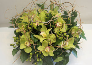 F144 - Organic Green Cymbidium Arrangement - Flowerplustoronto