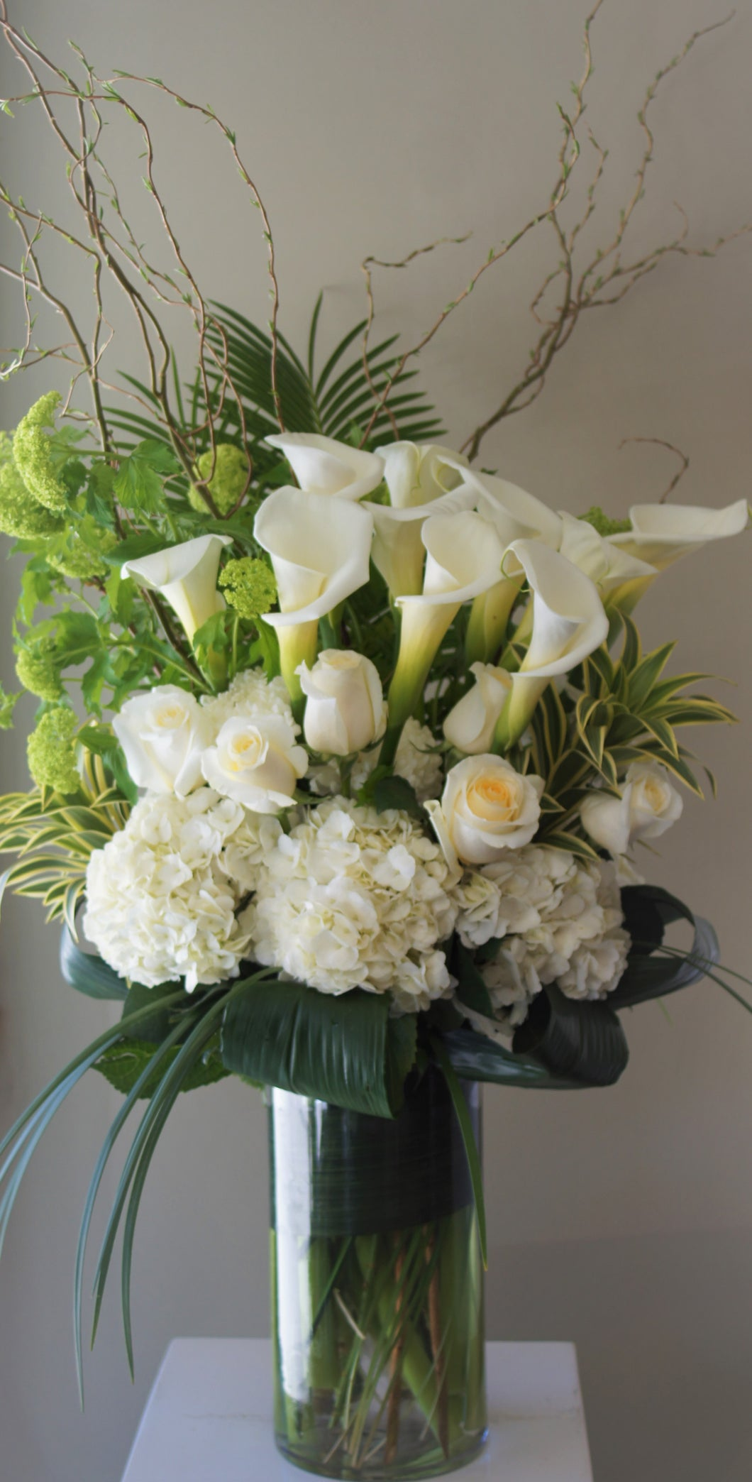FNV151 -  Modern White and Green Vase Arrangement - Flowerplustoronto