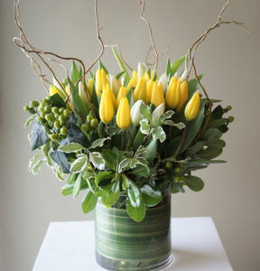 F150 - Tulips in Vase (Tulip Colours based on Availability) - Flowerplustoronto