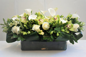 C7 - Modern White and Green Arrangement (Need 2 weeks notice) - Flowerplustoronto