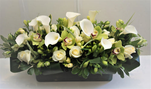 C7 - Modern White and Green Arrangement - Flowerplustoronto