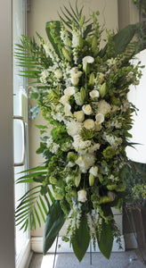 FNS29 - Classic White and Green Standing Funeral Spray - Flowerplustoronto