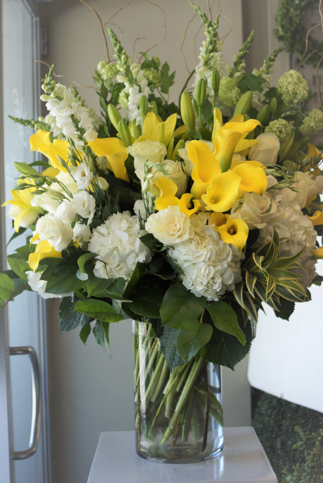FNV72 - Classic White, Yellow and Green Vase Arrangement - Flowerplustoronto
