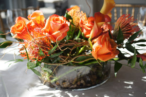 E21 - Shades of Orange Table Centerpiece - Flowerplustoronto