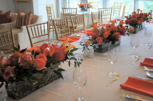 E20 - Shades of Orange Table Centerpieces - Series Design - Flowerplustoronto