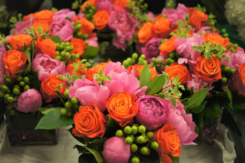 E24 - Orange and Hot Pink Table Centerpieces - Series Design - Flowerplustoronto