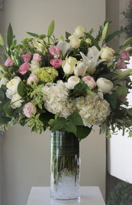 FNV14- Lush White Vase Arrangement with Light Pink accent - Flowerplustoronto