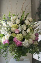 Load image into Gallery viewer, FNV12- Lush White Vase Arrangement with Light Pink accent - Flowerplustoronto