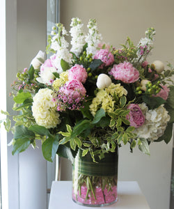 FNV85 - Lush White Vase Arrangement with Light Pink accent - substituting w/medium pink peonies - Flowerplustoronto