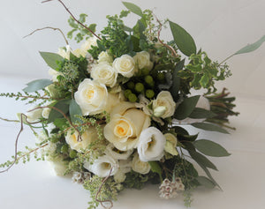 Delicate Gardeny Ivory Hand-tied Bridal Bouquet - Flowerplustoronto